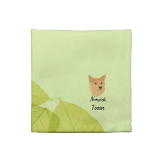 Norwich Terrier ~ Green Leaves Designs Cloth Napkin