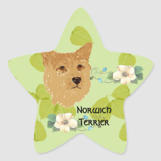 Norwich Terrier ~ Green Leaves Designs Star Sticker