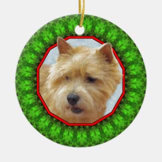 Norwich Terrier Happy Howliday Round Ceramic Ornament