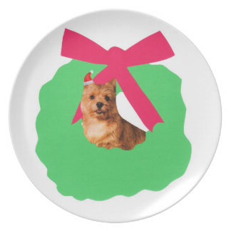Norwich Terrier Holiday Wreath Plate