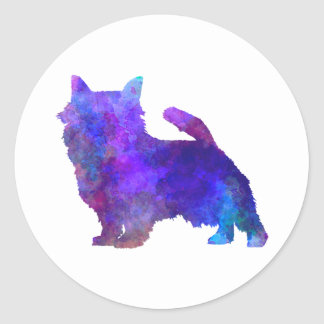 Norwich Terrier in watercolor Classic Round Sticker