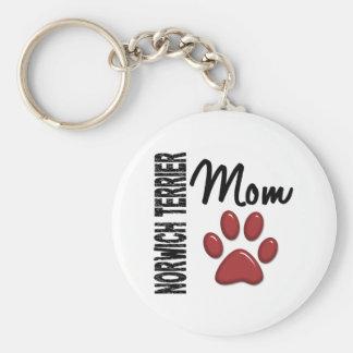 Norwich Terrier Mom 2 Basic Round Button Keychain