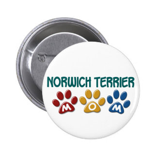 NORWICH TERRIER Mom Paw Print 1 2 Inch Round Button