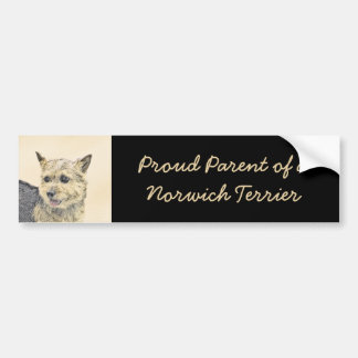 Norwich Terrier Painting - Cute Original Dog Art Bumper Sticker