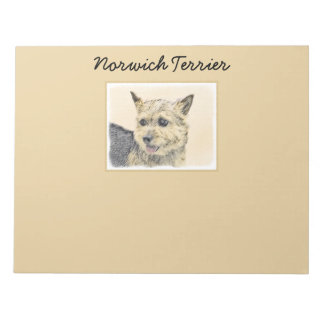 Norwich Terrier Painting - Cute Original Dog Art Notepad