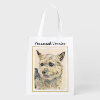 Norwich Terrier Painting - Cute Original Dog Art Reusable Grocery Bag