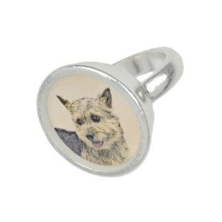 Norwich Terrier Painting - Cute Original Dog Art Ring