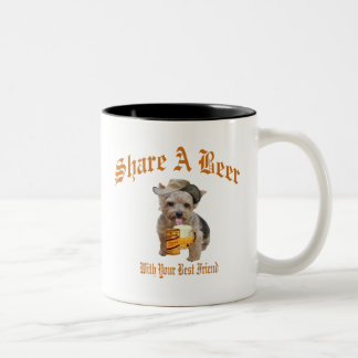 Norwich Terrier Shares A Beer Two-Tone Coffee Mug