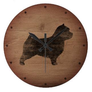 Norwich Terrier Silhouette Rustic Clocks