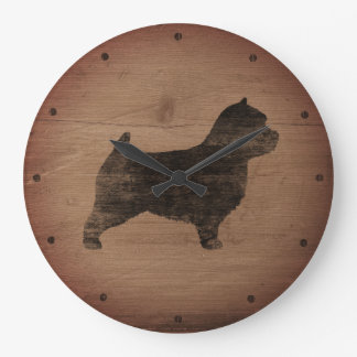 Norwich Terrier Silhouette Rustic Large Clock