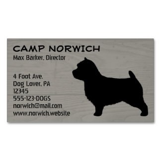 Norwich Terrier Silhouette Wood Grain Magnetic Business Card