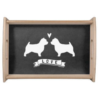 Norwich Terrier Silhouettes Love Serving Tray