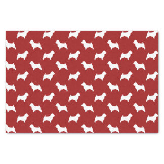 """Norwich Terrier Silhouettes Pattern Red 10"""" X 15"""" Tissue Paper"""