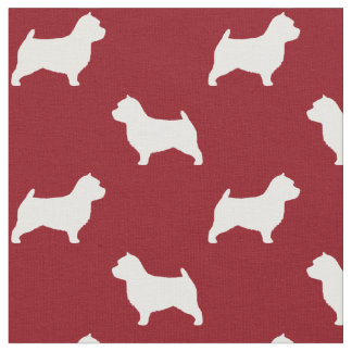 Norwich Terrier Silhouettes Pattern Red Fabric