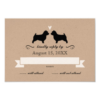 Norwich Terrier Silhouettes Wedding Reply RSVP Card