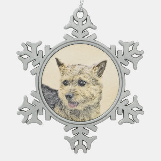 Norwich Terrier Snowflake Pewter Christmas Ornament