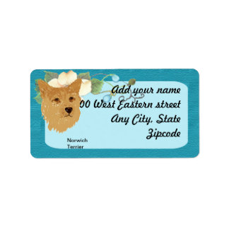 Norwich Terrier - Turquoise Floral Design