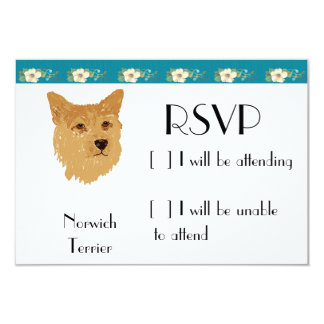 """Norwich Terrier - Turquoise Floral Design 3.5"""" X 5"""" Invitation Card"""