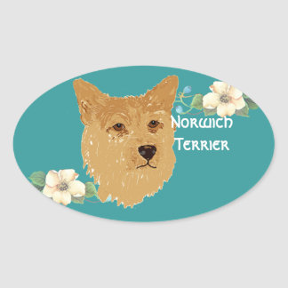 Norwich Terrier - Turquoise Floral Design Oval Sticker