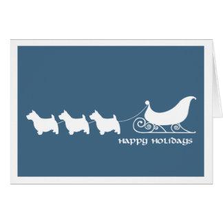 Norwich Terriers Pulling Santa's Sleigh Greeting Card
