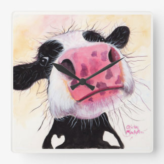 Nosey Cow ' Betty Blueberry ' by Shirley MacArthur Square Wall Clock