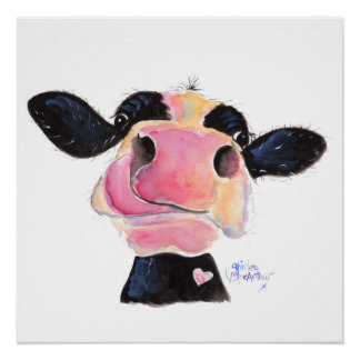 Nosey Cow 'Jammie Jessie' Poster Print