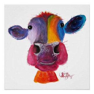 Nosey Cow 'LouLou' by Shirley MacArthur Poster