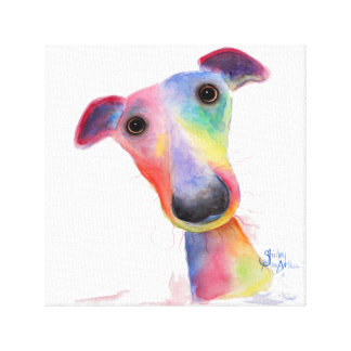 Nosey Dog 'Hank' Whippet / Greyhound Canvas Print