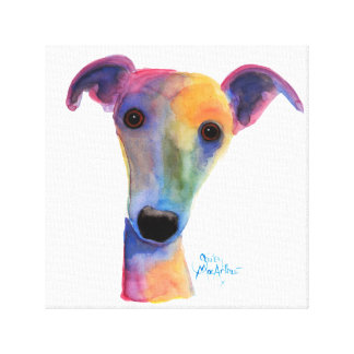 Nosey Dog ' Pansy ' by Shirley MacArthur Canvas Print