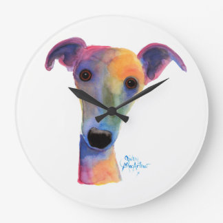 Nosey Dog ' Pansy ' by Shirley MacArthur Large Clock