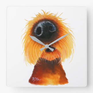 Nosey Dog ' SMELLS LiKe SuNSHiNe ' by Shirley Mac Square Wall Clock