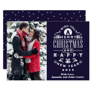 Nostalgic blue Christmas Greetings Vertical Photo Card