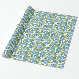 Nostalgic Blue Morning Glory Wrapping Paper