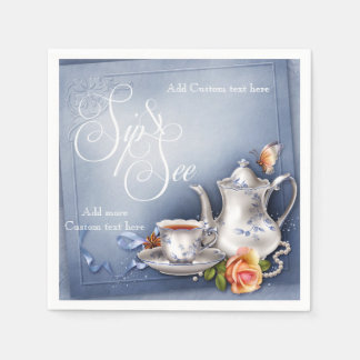 Nostalgic Blue Tea Time Sip & See Baby Party Napki Disposable Napkins