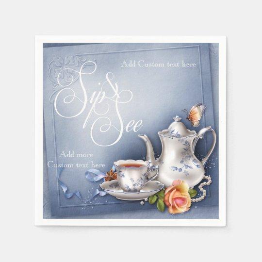 Nostalgic Blue Tea Time Sip & See Baby Party Napki Paper Napkin