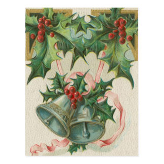 Nostalgic Christmas Bells and Holly Postcard