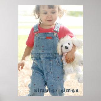 Nostalgic Dreams Girl & Plush Dog Portrait Poster