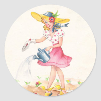 Nostalgic Girl with Watering Can Round Sticker