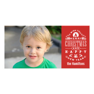 Nostalgic Merry Christmas RED typography Card