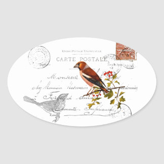 Nostalgic motive with bird oval sticker