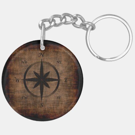 Nostalgic Old Compass Rose Design Double-Sided Round Acrylic Keychain