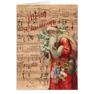 Nostalgic Santa Toys and tree With Sheet Music Card