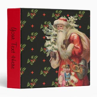 Nostalgic Santa With Holly Background Vinyl Binders