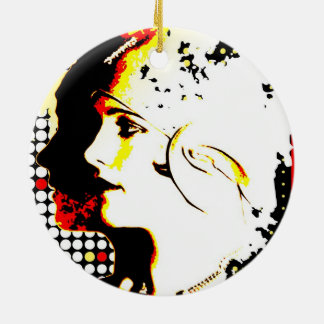 Nostalgic Seduction - Distant Gaze Ceramic Ornament