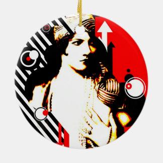 Nostalgic Seduction - Madam Stripe Ceramic Ornament