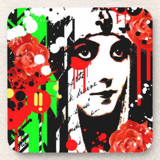 Nostalgic Seduction - Zombie Queen Roses Drink Coaster