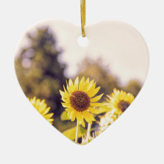 Nostalgic sunflower field ceramic heart ornament