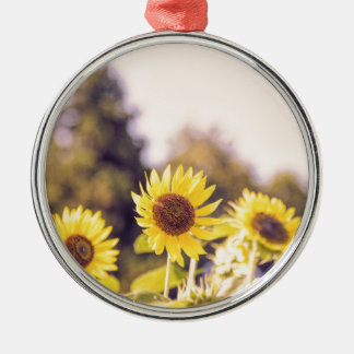 Nostalgic sunflower field Silver-Colored round ornament