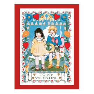 Nostalgic Valentine Two Children Hearts and Flower Postcard