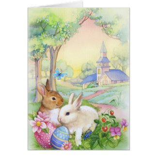 Nostalgic, vintage Easter bunnies Card